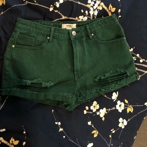 Forever 21 Green Distressed Jean Shorts
